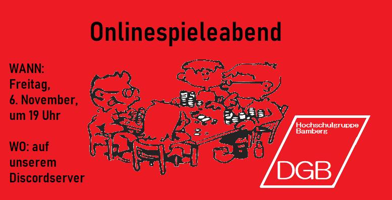 Onlinespieleabend mit der DGB Hochschulgruppe am 6. November