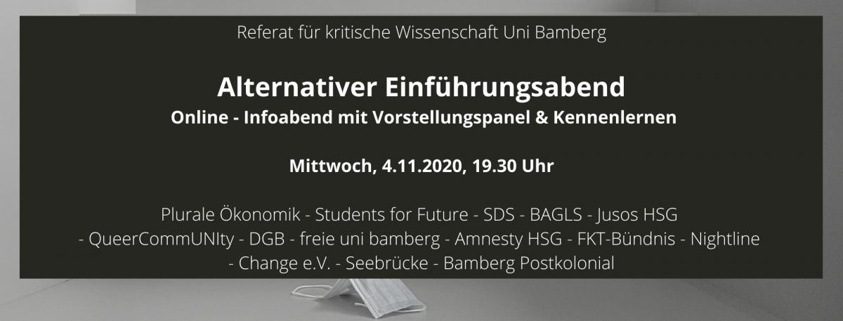Alternativer Einführungsabend im Wintersemester 2020/21